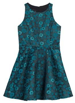 Un Deux Trois Girl's Floral Jacquard Dress