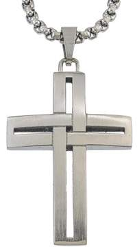 Armani Exchange Jewelry Mens Wrap Cross Pendant in Grey Stainless Steel