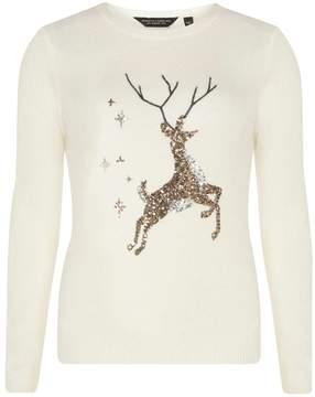 Dorothy Perkins Cream Sequin Reindeer Christmas Jumper