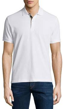 Burberry Short-Sleeve Oxford Polo Shirt, White