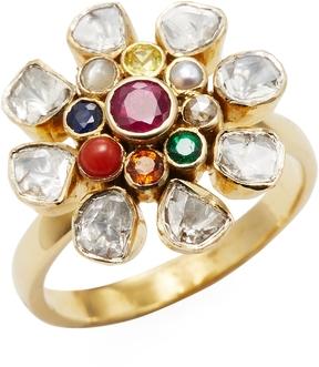 Amrapali Women's 18K Yellow Gold, Navratna & 0.06 Total Ct. Diamond Flower Ring