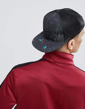 Asos DESIGN Trucker With Palm Print And 'Solar Sounds' Embroidery
