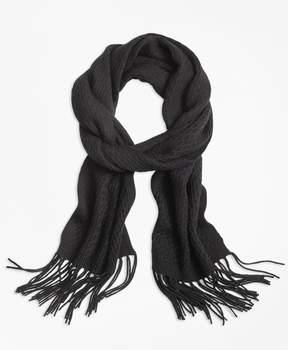 Brooks Brothers Lattice-Stitch Merino Wool Scarf