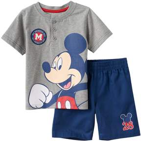Disney Disney's Mickey Mouse Baby Boy Henley & Shorts Set