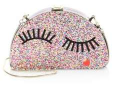 Milly Glitter Eyelash Half Moon Clutch