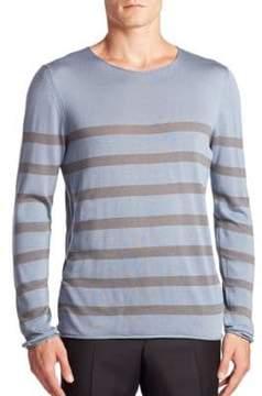 Giorgio Armani Striped Cotton, Silk& Cashmere Sweater