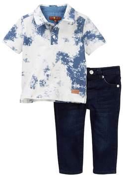 7 For All Mankind Short Sleeve Polo & Jean Set (Baby Boys)