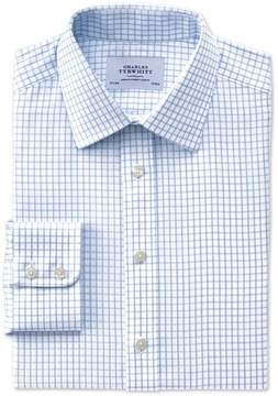 Charles Tyrwhitt Slim Fit Non-Iron Windowpane Check Blue Cotton Dress Shirt Single Cuff Size 16/38