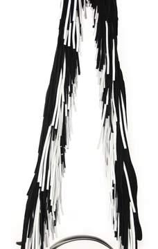 Diane von Furstenberg Black And White Round Cross Body Bag With Fringes