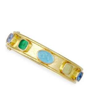 Elizabeth Locke Venetian Glass Intaglio 19k Gold Bangle, Pastel/Multicolor