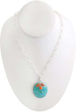 Barse Genuine Turquoise and Coral Stone Pendant Necklace