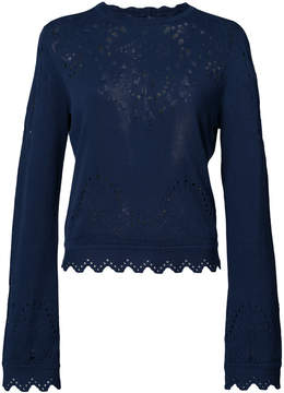 Derek Lam 10 Crosby Pointelle Crewneck Sweater