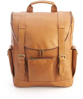 Royce Leather Royce Tan Colombian Leather Backpack with 15 Laptop Sleeve