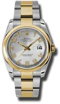 Rolex Datejust 36 Silver Concentric Dial Stainless Steel and 18K Yellow Gold Oyster Bracelet Automatic Men's Watch