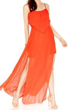 BCBGeneration Women's Solid Chiffon Ruffled Blouson Maxi Dress (M, Lava)