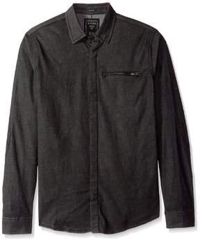GUESS Men's Slim Fit Moto Denim Shirt Rinse XXL