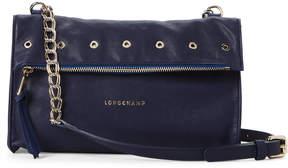 Longchamp Navy Paris Rocks Foldover Leather Crossbody