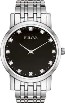 Bulova Men's 96D106 Diamond Stainless Steel Watch, 38mm