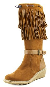Tommy Hilfiger Heidi Fringe Youth Round Toe Suede Brown Knee High Boot.
