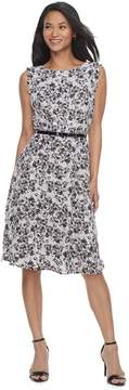 Elle Women's Print Scallop Trim A-Line Dress