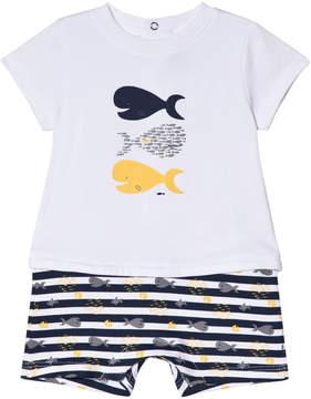 Absorba White Fish Print 2 in 1 Romper
