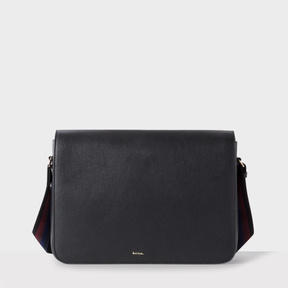 Paul Smith Men's Black Leather 'City Webbing' Messenger Bag