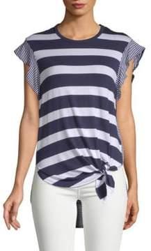 C&C California Striped Hi-Lo Short-Sleeve Top