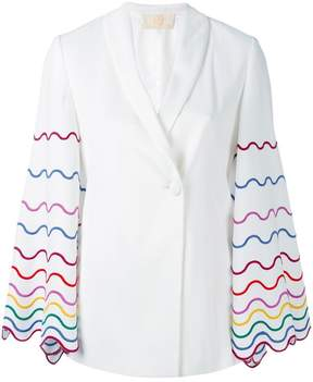 Sara Battaglia embroidered sleeve blazer