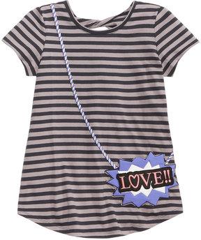Jessica Simpson Puff-Print Purse-Pocket Striped T-Shirt, Big Girls (7-16)