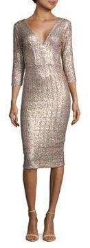 Dress the Population Casey Three-Quarter-Sleeve Textured Dress