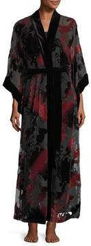 Josie Natori Shadow Velvet-Burnout Robe