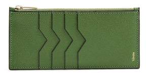 Valextra Contrast Edge Grained Leather Coin Purse - Womens - Light Green