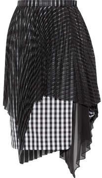 Facetasm Layered Jacquard, Gingham Cotton And Chiffon Skirt - Black