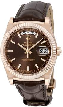 Rolex Day-Date President Chocolate Dial 18kt Everose Gold Automatic Men's Watch