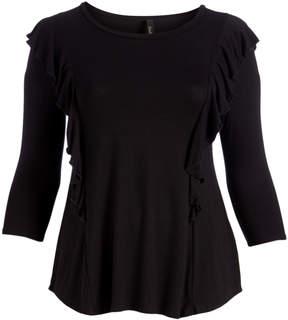 Celeste Black Ruffle-Accent Three-Quarter Sleeve Tunic - Plus
