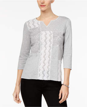 Alfred Dunner Eskimo Kiss Lace-Front Top