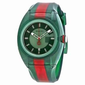 Gucci Sync Green Dial Men's Two Tone Rubber Watch YA137113