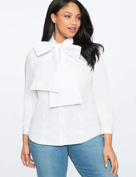 ELOQUII Long Sleeve Bow Blouse