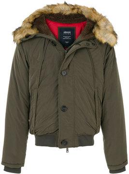 Armani Jeans faux fur trim hooded jacket