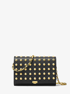 Michael Kors Yasmeen Studded French Calf Leather Clutch - BLACK - STYLE