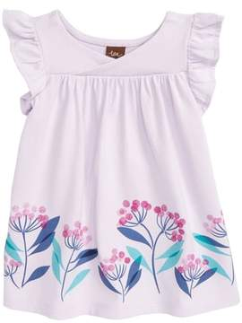 Tea Collection Flower Print Wrap Neck Knit Dress