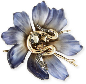 Alexis Bittar Lucite Flower & Crystal Snake Pin