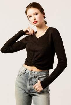 Azalea Fuzzy Knot Crop Sweater