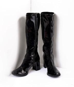 Unique Vintage Black Patent Knee High Go Go Boots