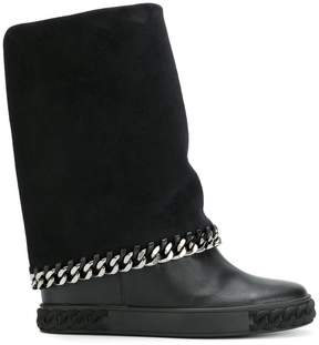 Casadei concealed platform chain boots