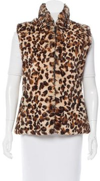 Adrienne Landau Leopard Print Rabbit Fur Vest