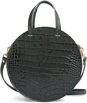 Clare Vivier Petit Alistair Croc Embossed Leather Circular Crossbody Bag