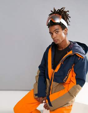 O'Neill Suburbs Ski Jacket All Over Print in Navy/Orange