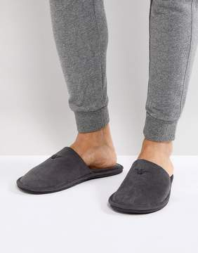 Emporio Armani Gray Logo Slipper in Dust Bag