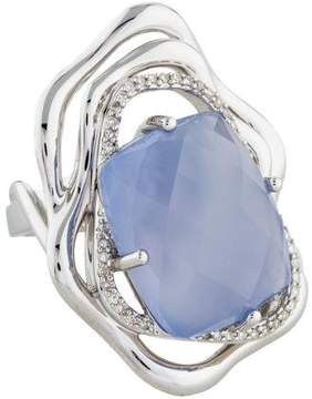 Catherine Malandrino Chalcedony & Diamond Floral Cocktail Ring